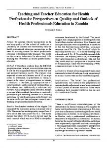 Teaching and Teacher Education for Health Professionals ...