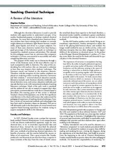 Teaching Chemical Technique. A Review of the ... - ACS Publications