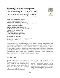 Teaching Culture Perception: Documenting and Transforming ... - Eric