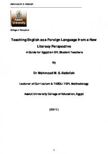 Teaching English as a Foreign Language from a New ...