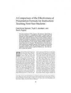 Teaching First-Year Students - College & Research Libraries