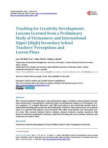 Teaching for Creativity Development: Lessons Learned from a ...