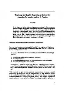 Teaching for Quality Learning at University - NTU