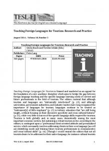 Teaching Foreign Languages for Tourism: Research and Practice