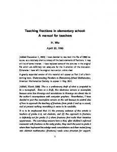 Teaching fractions in elementary school: A manual for ... - Math Berkeley