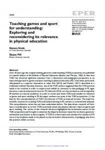 Teaching games and sport for understanding
