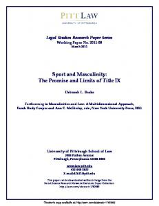 Teaching Masculinity Through Sport: The Promise and ... - SSRN papers