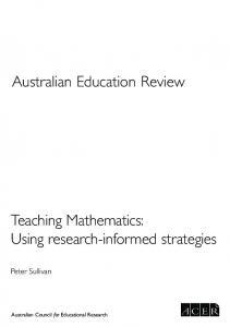 Teaching Mathematics: Using research ... - ACER Research Repository