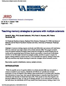 Teaching memory strategies to persons with multiple sclerosis