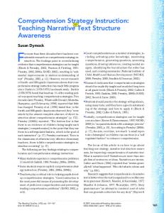 Teaching Narrative Text Structure Awareness