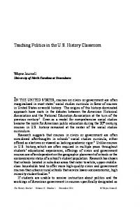 Teaching Politics in the US History Classroom - Society for History ...