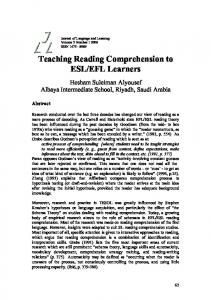 Teaching Reading Comprehension to ESL/EFL Learners