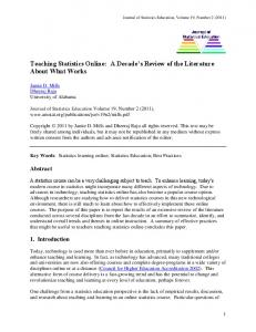Teaching Statistics Online: A Decade's Review of the Literature ...