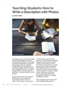 Teaching Students How to Write a Description with Photos