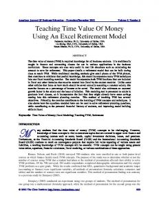 Teaching Time Value of Money Using an Excel Retirement Model.