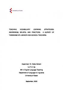 Teaching vocabulary learning strategies: awareness and practice
