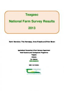 Teagasc National Farm Survey Results 2013