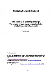 Team as a Learning Strategy - DiVA portal
