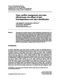 Team conflict management and team effectiveness: the ... - CiteSeerX