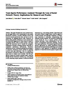 Team Sports Performance Analysed Through the Lens of Social ...