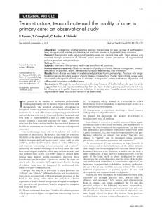 Team structure, team climate and the quality of care in primary ... - NCBI