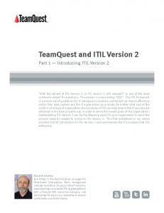 TeamQuest and ITIL Version 2 - Part 1