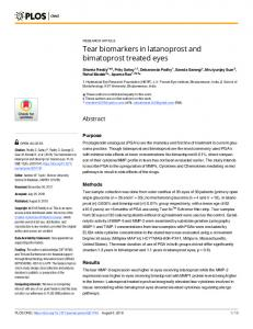 Tear biomarkers in latanoprost and bimatoprost treated eyes - PLOS