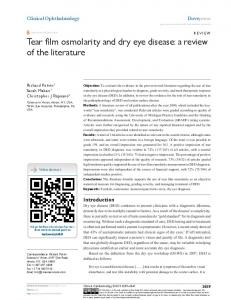 Tear film osmolarity and dry eye disease: a review ... - Semantic Scholar