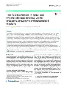 Tear fluid biomarkers in ocular and systemic disease - Springer Link