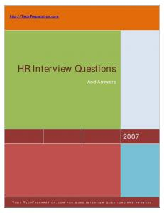 Tech Preparation: HR Interview Questions and Answers