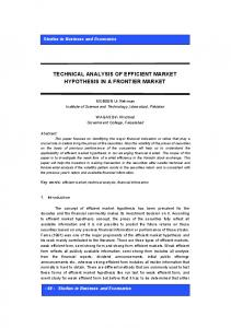 technical analysis of efficient market hypothesis in a frontier market