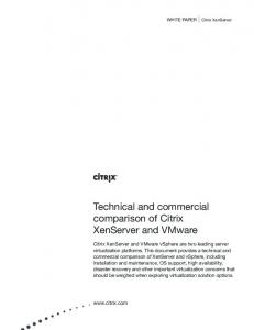 Technical and commercial comparison of Citrix XenServer and ...