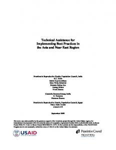 Technical assistance for implementing best practices in the Asia and