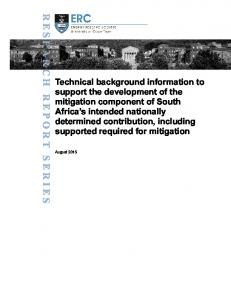 Technical background information to support the development of the
