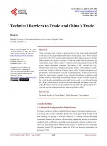 Technical Barriers to Trade and China's Trade