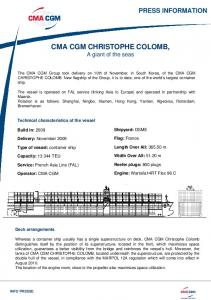 Technical datas CMA CGM Christophe Colomb - Marine Log