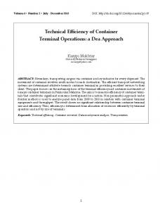 Technical Efficiency of Container Terminal Operations: a Dea Approach