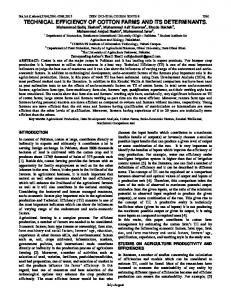 technical efficiency of cotton farms and its determinants. - Science ...
