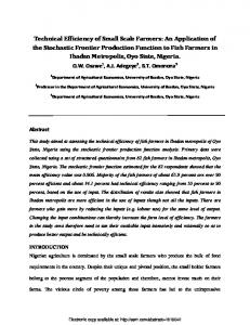Technical Efficiency of Small Scale Farmers: An ...