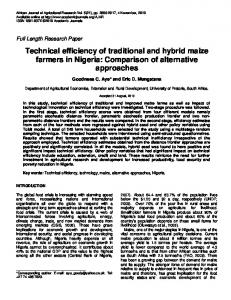 Technical efficiency of traditional and hybrid maize farmers in Nigeria ...