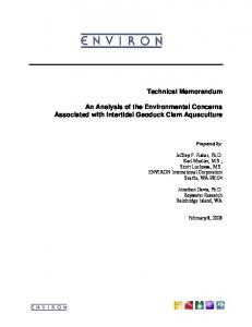 Technical Memorandum An Analysis of the Environmental Concerns