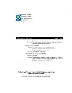 TECHNICAL REPORT Evaluating a Textual Feature Modelling ...