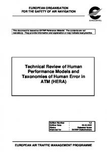 Technical Review of Human Performance Models and ... - Eurocontrol