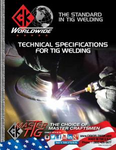 TECHNICAL SPECIFICATIONS FOR TIG WELDING