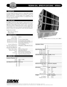 TECHNICAL SPECIFICATIONS KF860 - EAW