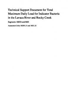 Technical Support Document for Total Maximum Daily Load for ...