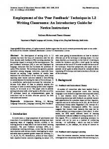 Technique in L2 Writing Classrooms: An Introductory Guide for ... - Eric