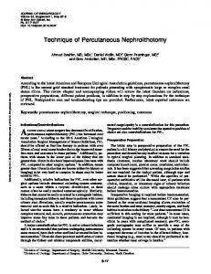 Technique of Percutaneous Nephrolithotomy