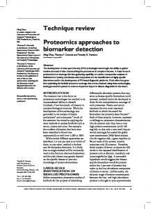 Technique review Proteomics approaches to biomarker detection