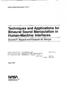 Techniques and Applications for Binaural Sound ... - NTRS - NASA